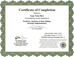 examples of certificates of completion series overview data mining analytics and predictive modeling
