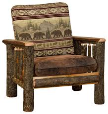 Rustic Hickory Living Room Chair Rustic Armchairs And Accent - Bear furniture