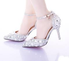 wedding shoes adelaide pointed toe silver pumps ab color bridal shoes rhinestone high