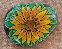 Sunflower Home Decor Sunflower Stone Etsy