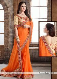 color designer orange color designer saree