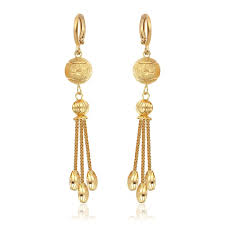 hanging earrings bohemian 18k yellow gold plated scrub chain tassel