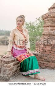 beautiful burma women myanmar traditional sit stock photo