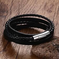 weave wrap bracelet images Black leather multilayer wrap weave bracelets for men stainless jpg