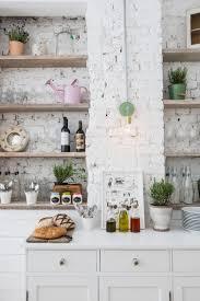 wood shelves brackets painted brick plank paneling inset flat