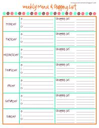 menu planner shopping list template