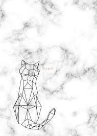 tattoo geometric outline geometric tattoo cat art print by saos design cat art print