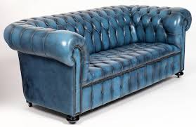 Blue Leather Chesterfield Sofa Steel Blue Leather Chesterfield Sofa At 1stdibs