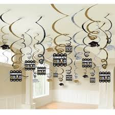 black silver and gold graduation hanging swirl decorations 50