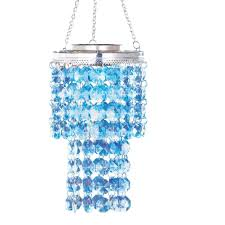 Living Home Outdoors Battery Operated Led Gazebo Chandelier by Lighted Solar Crystal Chandelier Dangler Blue Amazon Com