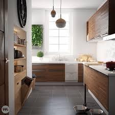 kitchen design wooden open shelves minimalist look ikea varnished