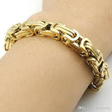 chain link bracelet gold images 2018 22cm 8mm byzantine bracelet 316l stainless steel chain link jpg