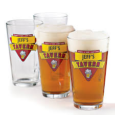 Beermeister Personalized Red Tavern Beer Glasses Set Of 4 Wine Enthusiast