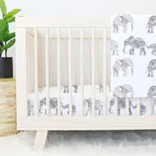 All White Crib Bedding Gray Marble Elephant Parade Baby Bedding Caden