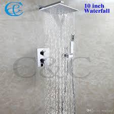 2017 bathroom waterfall shower faucet set 10 inch brass chrome