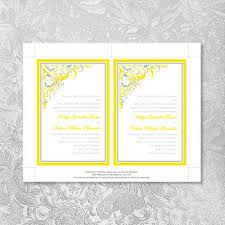 pocket fold pocket fold wedding invitations lemon yellow silver gray