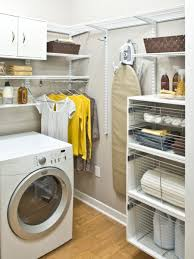 interior minimalist laundry room design with metal brackets and