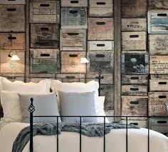papier peint chambre b idee deco tapisserie papier peint trompe loeil caisses de bois en