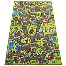 Kids Jungle Rug Amazon Com Melissa U0026 Doug Round The Town Road Rug And Car