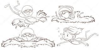 a sketch of people swimming u2014 stock vector blueringmedia 54593341