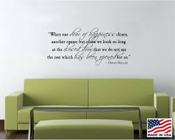 wall decals stickers home decor home furniture diy vinyl wall decal art saying decor quote when one door of happiness helen keller