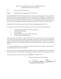 Termination Of Contract Notice by Glenwood Principal Denies U0027inappropriate Relationship U0027 Other
