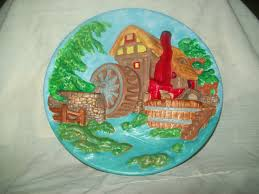 Collectible Home Decor Ceramic Wall Plate Scenery Wall Plate Hand Painted Wall Plate