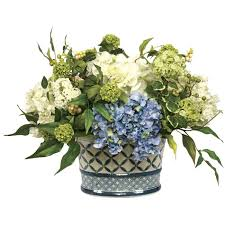 blue and white faux hydrangea in oval planter free shipping