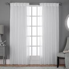 Winter Window Curtains Belgian Pinch Pleat Winter White Textured Linen Look Jacquard