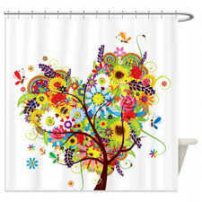 Whimsical Shower Curtains Whimsical Of Flowers Floral Tree 1 Shower Curtain Whimsical