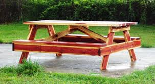 Picnic Table With Benches Picnic Tables Custom Built From Red Cedar Or Redwood 479 243 0375