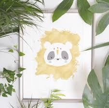 Panda Nursery Decor by Tribal Panda Kids Art Print Scandinavian Nursery Decor Born Lucky