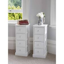 Bedside Table Ls Of White Wooden Four Drawer Bedside Tables