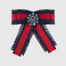 cotton ribbon web grosgrain bow brooch gucci fashion jewelry for women