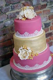 pink and gold lace wedding cake bakealous