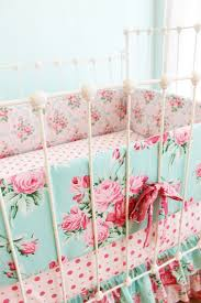 Aqua And Pink Crib Bedding by Pink And Blue Roses Baby Crib Bedding Shabby Chic Baby