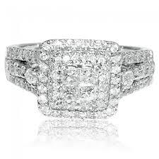 big wedding rings 1ct princess cut wedding ring white gold 14k 11mm big