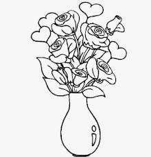 flower vase drawing with colour drawing sketch library