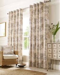 Floral Lined Curtains Grey Botanical Floral Curtains Fully Lined Eyelet Style
