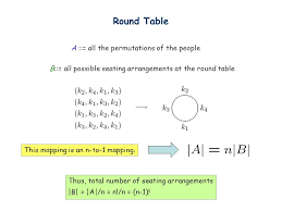 round table number of seats more counting lecture 13 a b f counting rule bijection if f is