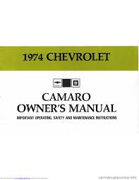 chevrolet camaro 1974 2 g owners manual