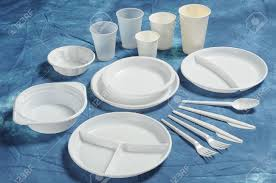 disposable cutlery varieties of disposable plates cups and cutlery stock photo