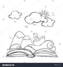 coloring book open book mountain star stock vector 406772215