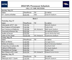 2014 nfl preseason football schedule printable schedules