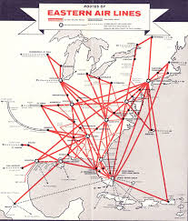 Spirit Airlines Route Map by Airline Timetables Eastern Airlines October 1961