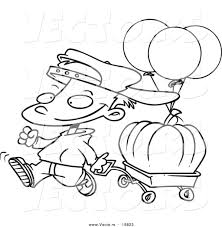 vector of a cartoon boy pulling a pumpkin in a wagon outlined