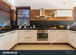 horizontal view modern furniture luxury kitchen stock photo