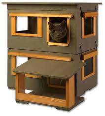 wooden cat house bed shelter 3 story condo indoor outdoor kitten