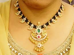 black gold necklace jewelry images Latest black thread jewellry with gold designs_black dori necklace jpg