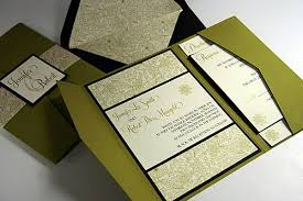 pocket fold citron scribble floral pocket invitation cards pockets design